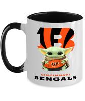 BENGALS Yoda Coffee Mug, Cincinnati BENGALS Black Two Toned Coffee Mug Gift