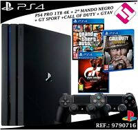 PS4 PLAYSTATION 4 PRO 1TB 2 MANDOS 3 JUEGOS GTAV GTSPORT CALL OF DUTY WW2 OFERTA