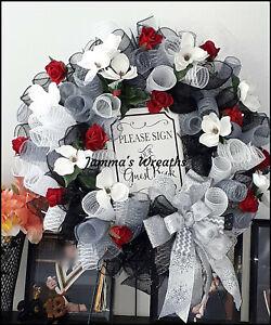 Wedding Reception Guest Book Deco Mesh Door Wreath {Handmade}
