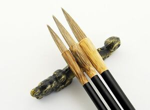"""3xPC Chinese Famous""""TIGER""""Brand Yanzhenqing Style Water Ink Calligraphy Brush"""