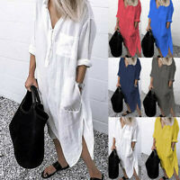 Women's Summer Smock Dress Tops Ladies Holiday Beach Casual Loose Shirt Sundress