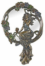 Veronese Bronze Figurine Art Nouveau Lady on Rattan Wall Mirror Large Gift