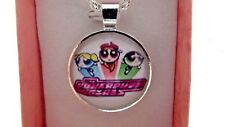POWER PUFF GIRLS PHOTO SILVER PLATE CHAIN NECKLACE 22inc GIFT BOX BIRTHDAY PARTY