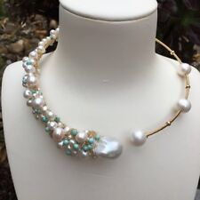 White freshwater Baloque pearl 14KGF Pendant Necklace Original works AAA