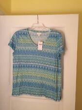 Ladies NWT J Jill Love Linen Short Sleeve Shirt Size S In Blues Retail $59.00