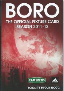 MIDDLESBROUGH FIXTURE CARD LIST 2011-12