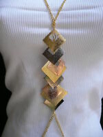 New Women Gold Chains Pewter Rose Multi Squares Metal Body Chain Fashion Jewelry