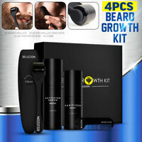 Beard Growth Kit Facial Styling Activator Serum Oil With Roller Comb Set Gift