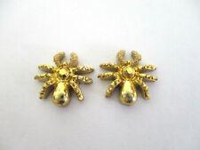 RESIN GOLD SPIDER STUD EARRINGS. 12MM