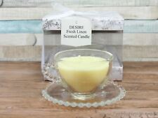 Desire Fresh Linen Scented Wax Candle In A Glass Teacup With Saucer Tea Cup Gift