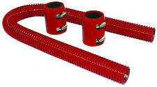 "24"" Red Stainless Flexible Radiator Hose Kit W/ Billet Clamp Covers Chevy Ford"