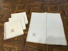 """Set of 4 Sweet Floral Embroidered Cotton Linen Cocktail Napkins 11""""x11"""""""