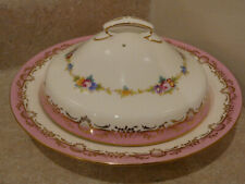 VINTAGE MINTON CHINA PORCELAIN COVERED BUTTER CHEESE DISH HP FLORAL PINK P3384