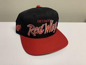 Vintage Detroit Red Wings Sports Specialties Script Snapback Hat Cap Nhl Black