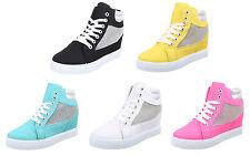 Markenlose Damen-High-Top Sneaker aus Textil mit Schnürsenkeln
