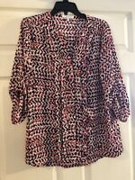 Chaus New York Womens Blouse White Pink Navy Size M Tunic Button Front Shirt