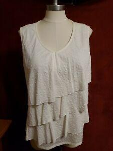 Woman's 1X Jaclyn Smith sleeveless Top  polyester rayon ruffles,