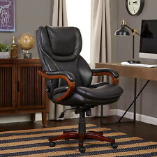 Serta Big Tall Commercial Executive Office Chair Black Furniture Wood Accents