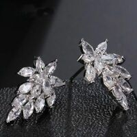 Color Trendy Brincos Zircon Cubic Jewelry Leaves Stud For Women Earrings