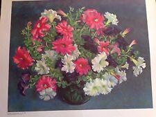 Petunias, Kenneth  M Adams, Taos Art School Rare 1960 Lithograph Southwest Art