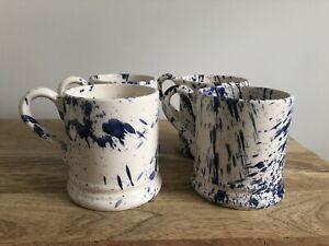 Emma Bridgewater Blue Splatter Mugs X4