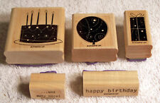 Lot of 5 Wood Mounted Rubber Stamps - Stampin' Up! - Birthday Whimsy