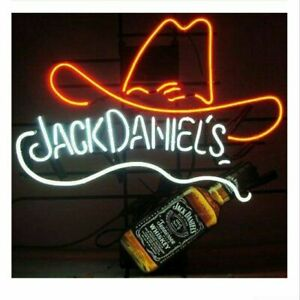 Jack Daniels's Bottle Cowboy Hat Real Neon Sign Beer Bar Light Artwork