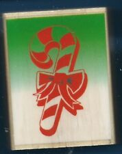 CANDY CANE BOW  Christmas Holiday Card Gift Tag NEW NICOLE wood RUBBER STAMP