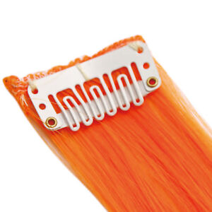 """20"""" Clip in Hair Extensions HIGHLIGHTS Orange Straight 8pcs 50g"""