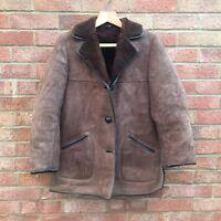 Vintage Mens Sheepskin Suede Jacket Brown Large Great condition