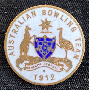 Lawn Bowls 1912 Australian Bowling Team Original Gilt & Enamel Badge