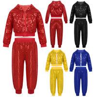 Kids Boys Girls Jazz Dance Costume Sequins Hip Hop Jacket+Pants Street Dancewear