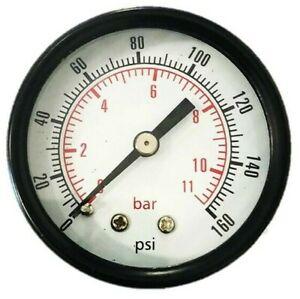 "2"" Dial Back Mount Air Compressor Pressure Pneumatic Gauge 0-160 PSI 1/4"" NPT"