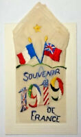 WW1 SILK EMBROIDERED POSTCARD - 1919 - SOUVENIR of FRANCE WITH SILK HANDKERCHIEF