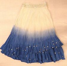 Rare JUSTICE Long Maxi White Blue Ombre Skirt 16 Tiers Metallic Stripe Sequins $