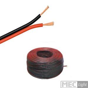 (0,49€/m) 5-100m LED Zwillings-Litze 2x 0,50mm² rot/schwarz Kabel 2-adrig KFZ