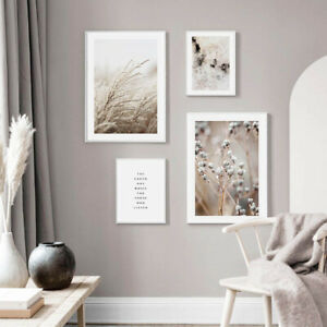 Nature Botanical Landscape Poster Cow Grass Wall Art Canvas Scandinavian Decor