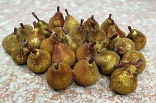 "Small 2"" Sugared Beaded Pears Lot Decorative Fruit Gold"