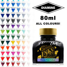 Diamine Bottled Ink (80ml Glass Bottle) For Fountain Pens, All Colours Available