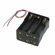 Black Tow Layers 6 x 1.5V AA Batteries Battery Holder Case Box w Wire Leads