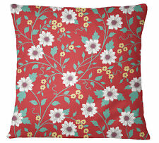 S4Sassy Decorative Red Pillow Cover Floral Printed Cushion Cover-v6g