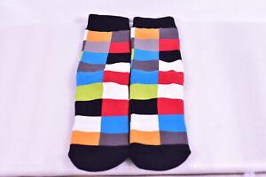 Stance Classic Crew Socks- Geometric Squares - Blue, Red, Black, Grey - (L - XL)