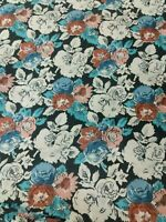 Floral Sewing Fabric Vintage 80's Print 6 Yards Dusty Pink Black Roses Print