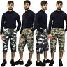 Mens Army 3/4 Elasticated Waist Gym Military Cargo Combat Long Shorts Pants Camo