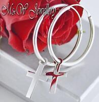 925 Sterling Silver Rhodium Plated Earrings Hoop with CROSSES