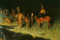 Frederic Remington The Grass Fire Poster Reproduction Giclee Canvas Print