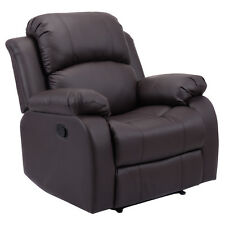Recliner Sofa Chair PU Leather Ergonomic Padded Seat Lounge Living Room Brown