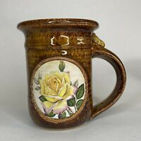 Rustic Handmade Art Pottery Stoneware Coffee Cup Mug Brown Speckle Yellow Rose