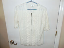 3bb6a6d66c Womens DRESSBARN Cardigan Short Sleeve Zip Front Sweater Ladies White Size  XL