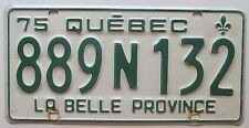 Quebec 1975 License Plate NICE QUALITY # 889N132